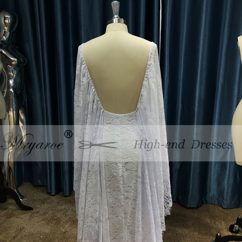 765ee6ca5f59 Mryarce New Unique French Lace Bohemian Wedding Dresses Open Back Front  Slit Boho Chic Bridal Gowns ...