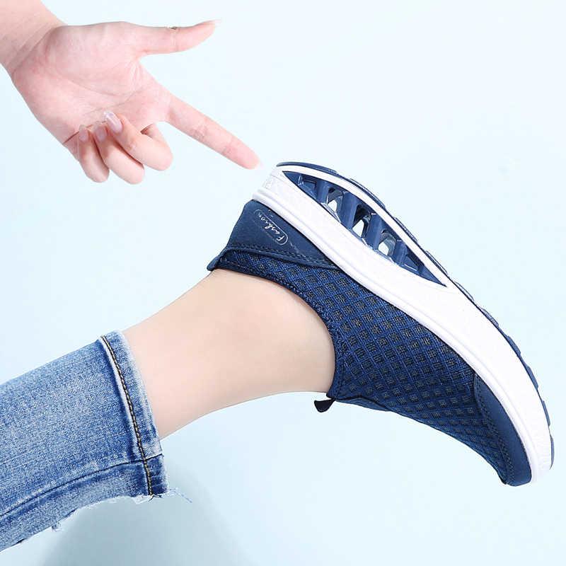 STQ 2020 가을 여성 운동화 신발 플랫 플랫폼 신발 여성 통기성 메쉬 캐주얼 신발 슬립 플랫폼 크리퍼 신발 7690