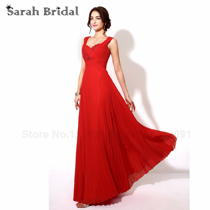 Cheap Clearance Pleated Red Chiffon   Prom     Dresses   Long A-Line Beading Sequined Evening   Dresses   vestidos de fiesta In stock TZ013