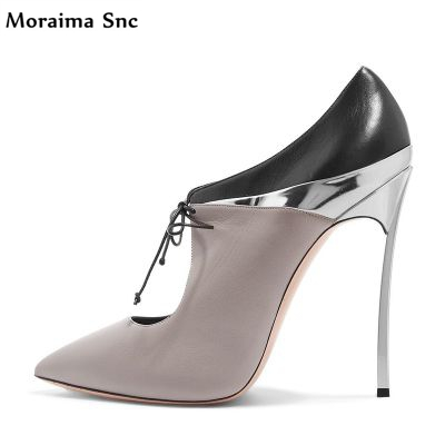 Moraima Snc fashion women pointed toe platform fretwork mixed colors Butterfly-knot Decoration thin high heel Party shoes moraima snc winter fashion women lace up boots flower print mixed colors metal decoration platform round toe gladiator boots