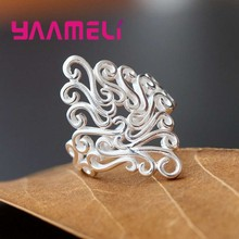 YAAMELI Elegant Finger Ring For Women Sterling 925 Silver Jewelry Exquisite Stamp Fine Fashion Present Wedding/Anniversary Gift(China)