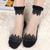2017 new summer Harajuku zipper soft vertical stripes glass casual crystal Sweet crystal glass transparent silk lace socks women