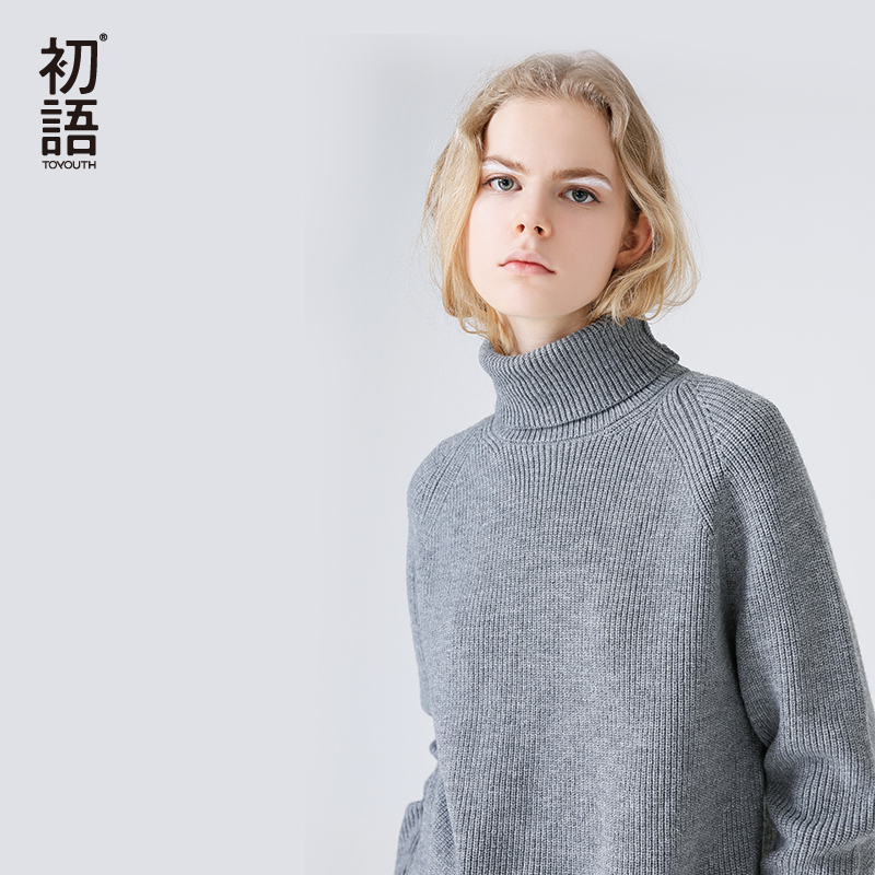 Toyouth Slim Sweater Women 2019 Autumn Spring Knitted Sweater Patchwork Long Sleeve Turtleneck Knitting Pullover Womens