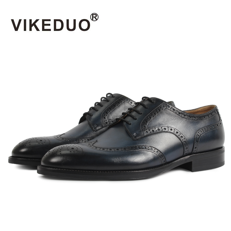 Vikeduo Classic Full Brogues Handmade Wedding Party Derby Shoes Business Blue Brand Male Genuine Leather Patina Men Dress ShoesVikeduo Classic Full Brogues Handmade Wedding Party Derby Shoes Business Blue Brand Male Genuine Leather Patina Men Dress Shoes