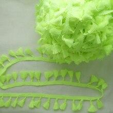 3Yards/Lot Vintage 100% cotton knotted shine green fringe trim with cute tassels 1cm width tape 1.5cm length tassels