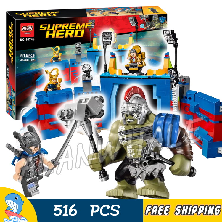 516pcs Super Heroes Thor vs. Hulk Arena Clash Ragnarok Guard Stage 10749 Model Building Blocks Toys Bricks Compatible With lego building blocks super heroes back to the future doc brown and marty mcfly with skateboard wolverine toys for children gift kf197