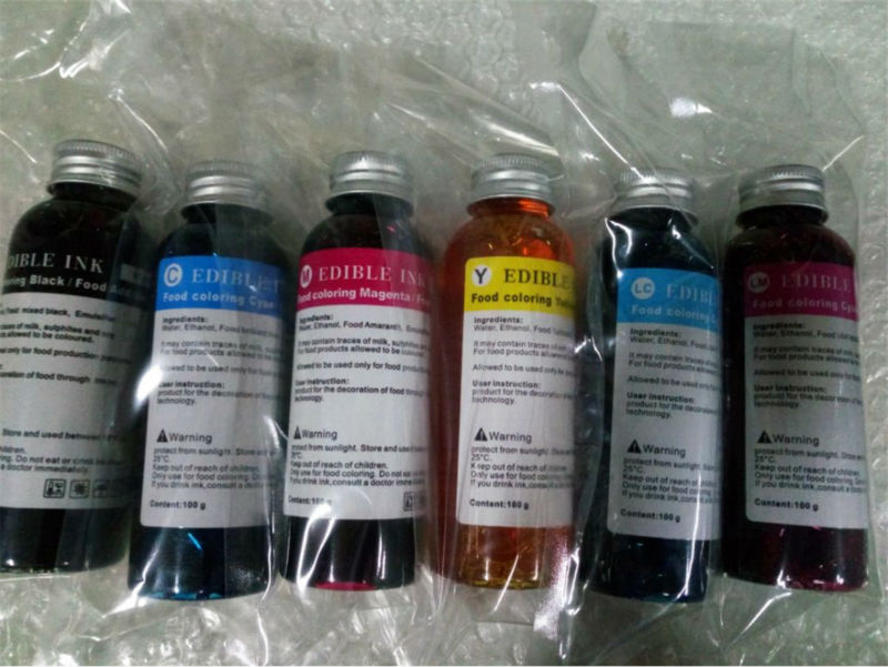 2set /Lot , 6*100ml Per Set  Edible Ink For Coffee  Flatbed Printer  To Print Coffee , Cake , Candy Etc