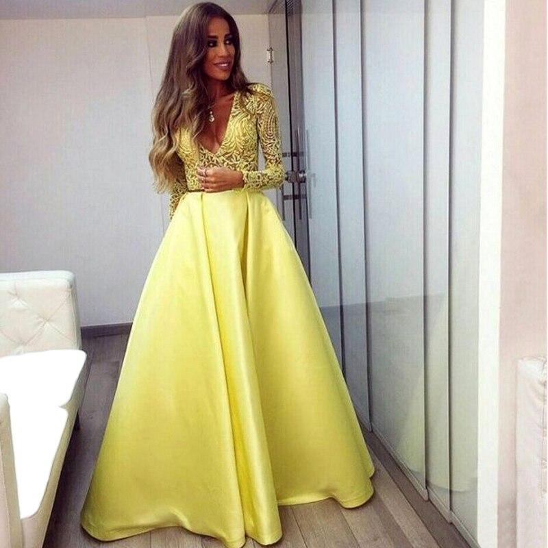 Vestidos De Fiesta Amarillo De Manga Larga De Encaje Vestido