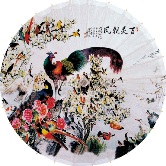 Free shipping dia 84cm chinese classical oiled paper umbrella with ALL BIRD OBEISANCES TO PHOENIX picture free shipping dia 84cm chinese paper parasol rain sunshade womens umbrella with anthemy picture handmade oiled paper umbrella