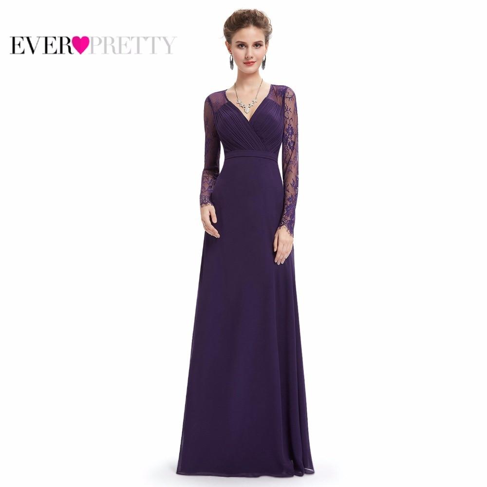 Голубое платье для матери невесты Ever Pretty EP08692 v-образным вырезом трапециевидной формы с длинными рукавами Формальные Вечерние платья специа...