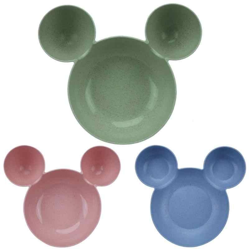 Kid Tigela Pratos Definir Rato Dos Desenhos Animados Caixa de Almoço Dos Desenhos Animados do Miúdo Infantil Do Bebê De Alimentação De Arroz Tigela Prato Talheres De Plástico Lanche