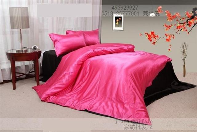 Hot Pink Black Silk Satin Bedding Set King Quilt Duvet Cover Bed In A