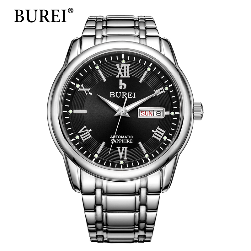 BUREI Men Watch Top Luxury Brand Waterproof Date And Day Male Clock Large Dial Sapphire Lens Mechanical Wrist Watches Hot Sale