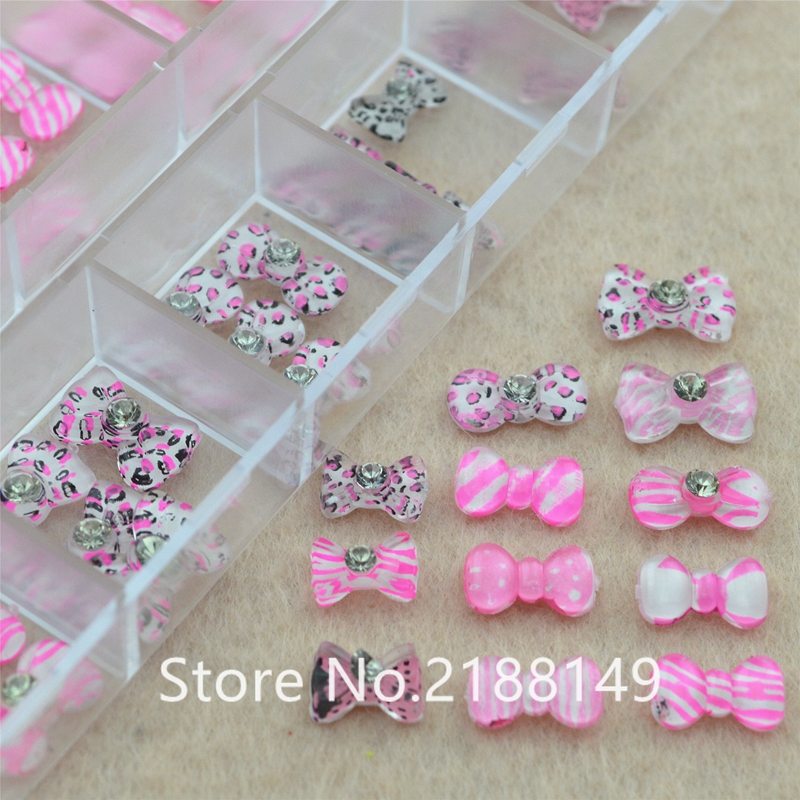 цена на 2018  60Pcs Pink Bow Tie For 3d nail art charms jewelry adhesive rhinestones decoration for manicure design Acrylic Nails Arts