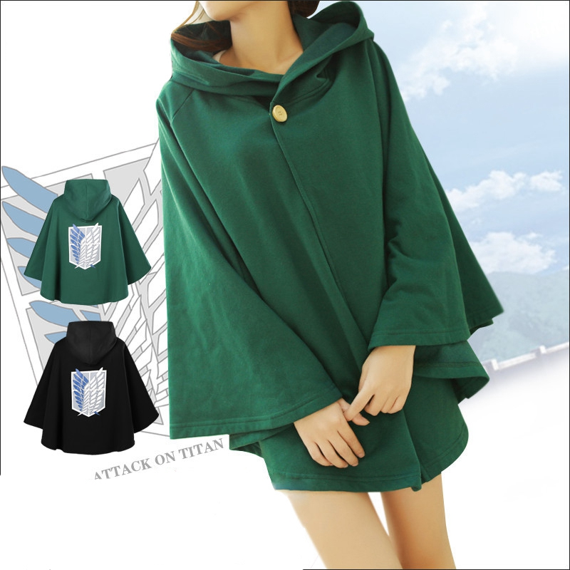 Attack on Titan Anime Shingeki no Kyojin Green Cloak Anime Cosplay Costume Party 2 Color The Scouting Legion Одежда