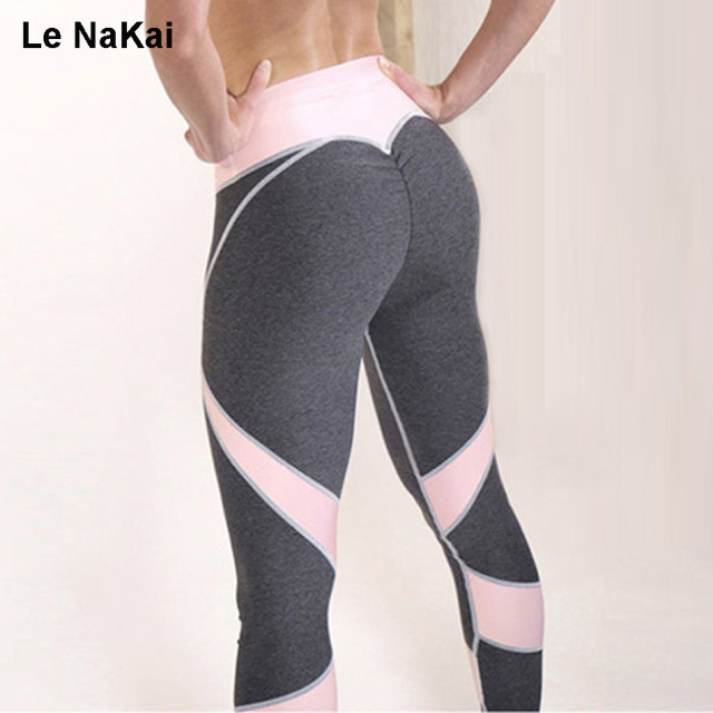 Hot Sale Push up Heart Booty Sexy Yoga Leggings For Women Fitness Pink  Panel Yoga Pants Contrast Color patchwork Gym Tights 2ecfc615109e