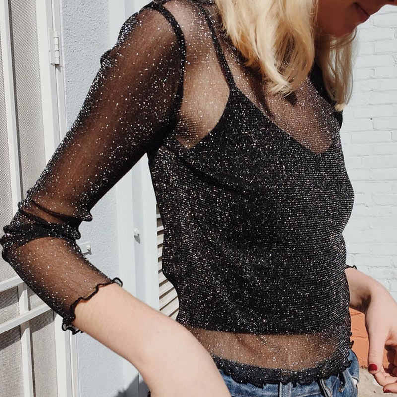 Sexy Women Glitter Sheer Mesh Top Long-Sleeve Casual Perspective Hollow Out Tee Shine Basic T-shirt Tops JL