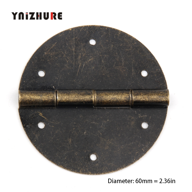 2Pcs 60mm Furniture Round Drawer Door Butt Hinge Antique Chinese Style DIY Decor