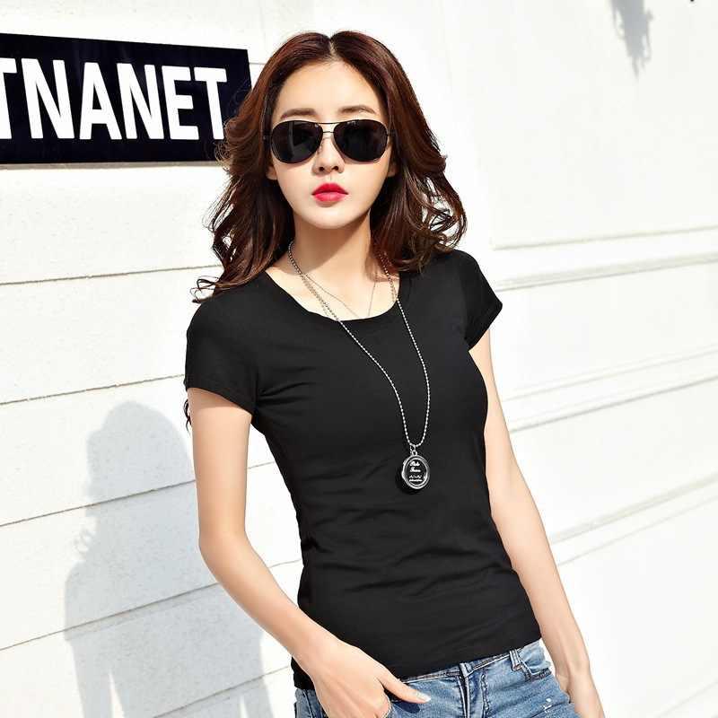 2019 весна лето женская хлопковая футболка черная с v-образным вырезом короткий рукав женская футболка тонкая белая футболка Повседневная однотонная женская футболка Топы