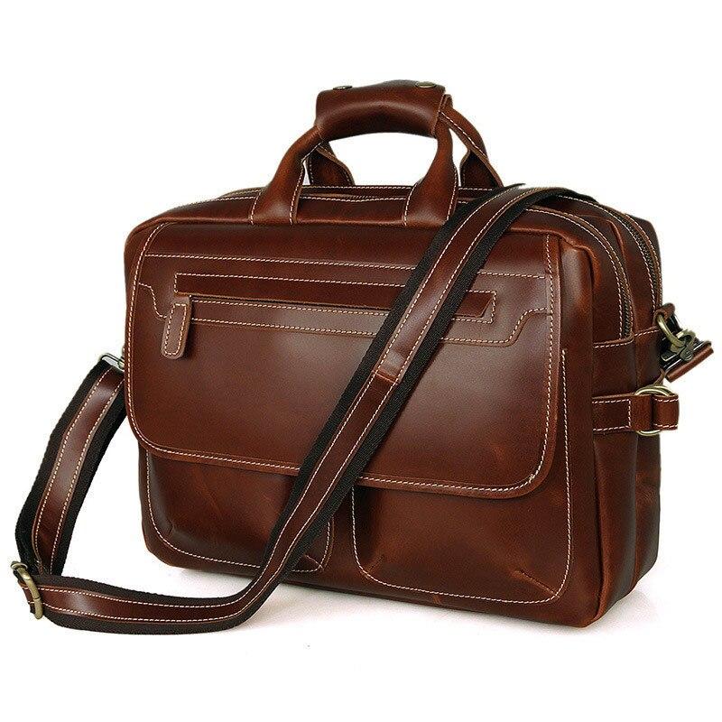 Männer Echtes Männlichen Raum Laptop Brown Aktentasche tasche Handtasche Pr587085 New Arbeit Wochenende Zwei Große Business Tote Schichten Leder Reise tXCRAqA