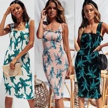 Sleeveless Spaghetti Strap Backless Print Boho Chiffon Summer Dress 2019 Midi Bodycon Dresses For Women Vestidos