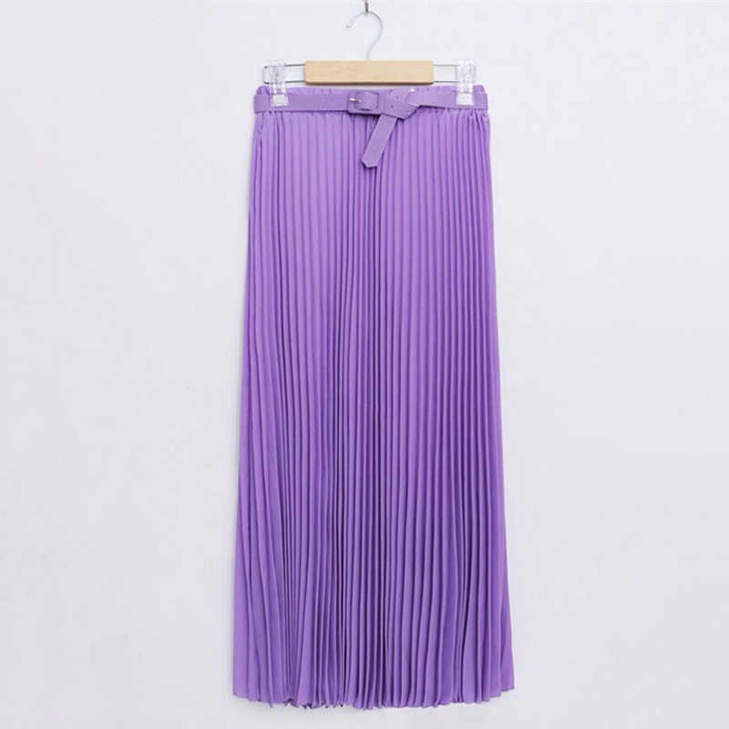 e6ab888672 ... Long Pleated Skirts Womens Chiffon Elastic Waist Summer All Match Solid Tulle  Maxi Skirt With Belt ...