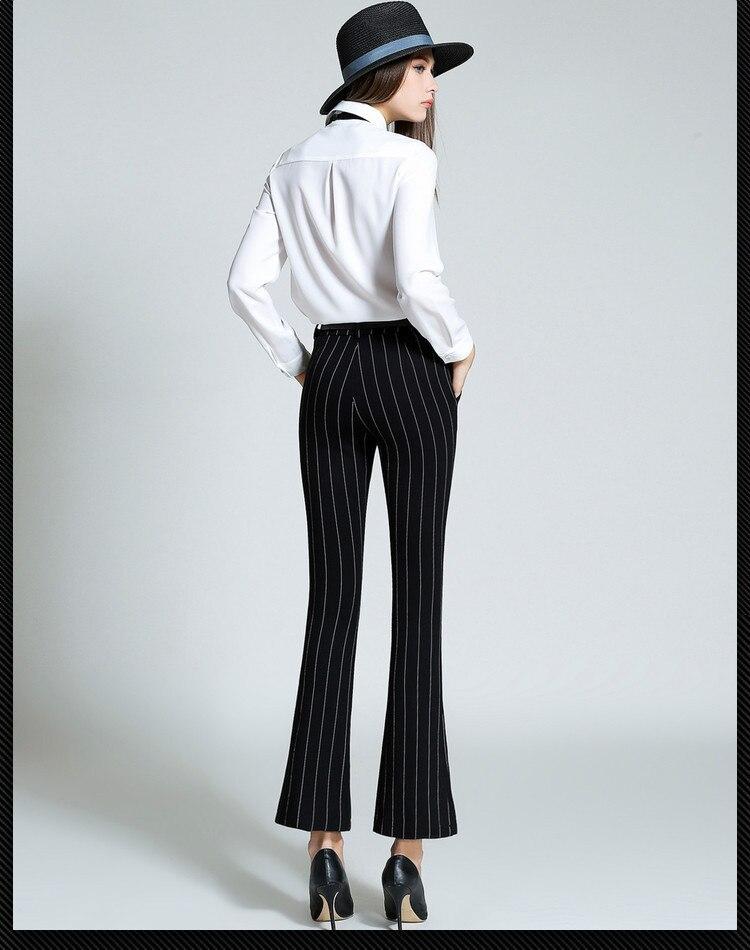 06814e7c7ce Colourstone Elegant Pants Women Business Trousers Fashion Striped Black  Casual capri Pants And Belt Office Work Pants Women-in Pants   Capris from  Women s ...