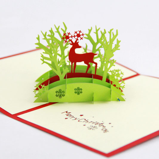 qubiclife christmas blessing christmas cards jungle deer stereo creative handmade card in cards invitations from home garden on aliexpresscom alibaba - Deer Christmas Cards