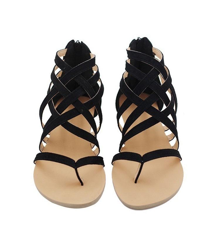 HTB1ucKIl1uSBuNjy1Xcq6AYjFXam Women Sandals Fashion Gladiator Sandals For Women Summer Shoes Female Flat Sandals Rome Style Cross Tied Sandals Shoes Women 43