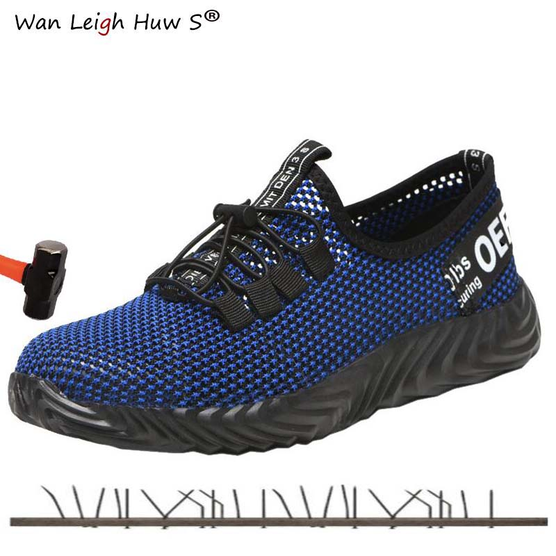 Mens Steel Toe Work Safety Shoes Breathable Outdoor Indestructible Sneakers Puncture Proof Boots Comfortable Industrial