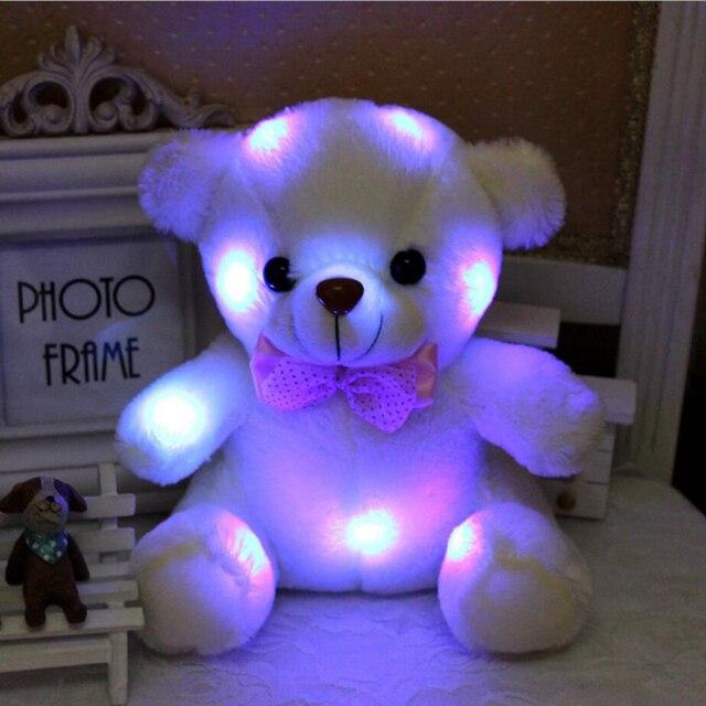 Успокоить плюшевые игрушки 20 см белый медведь кукла сияющий игрушку для ребенка в вечернее время ребенка компаньон протектор с нет батарейный блок