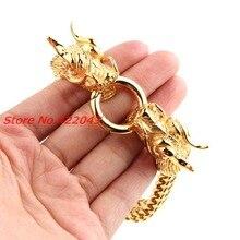 8 66 13mm Hiphop Men s Bracelet Antique Gold color Stainless Steel Dragon Head Figaro