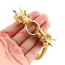 8.66*13mm Hiphop Men's Bracelet Antique  Gold  color Stainless Steel Dragon Head Figaro Chain Bangle Bracelets Boy's Jewelry