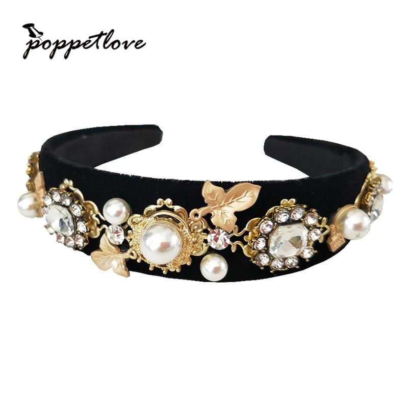 Baroque Luxury Rhinestone Crystal Headband For Women Bridal Gold Leaf Hair Accessories Jewelry Runway Retro Headwear delicate rhinestone leaf link chain hair band for women