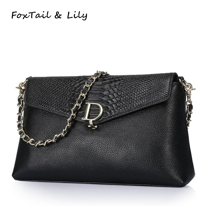 FoxTail & Lily Serpentine Genuine Leather Bag Famous Designer Women Messenger Bags Ladies Real Leather Shoulder Crossbody Bag famous brand designer 2018 ladies small messenger bags women serpentine leather shoulder bag high quality chains crossbody bags