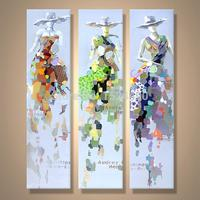 Fashion Girl Top Girl Direct From Artist 100% Hand painted Modern Cartoon Oil Painting On Canvas Wall Art Home Decorations
