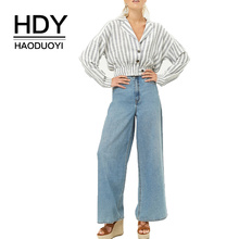 HDY Haoduoyi women Cotton Outwear Striped Print Button Short Paragraph shirts Elastic Tights High Waist tops Slender Slim Fit