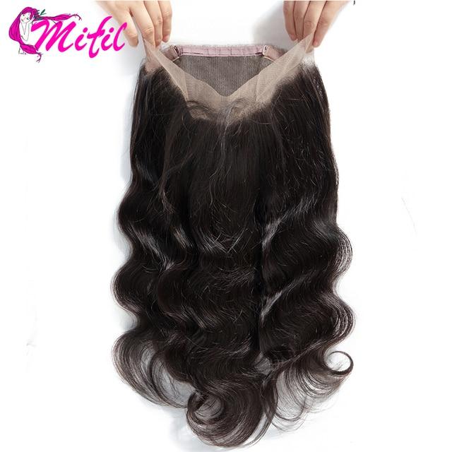 Pelo de mifilo 360 encaje cierre Frontal brasileño onda del cuerpo Frontal con pelo de bebé 100% cabello humano sin Remy Cierre de encaje la parte libre