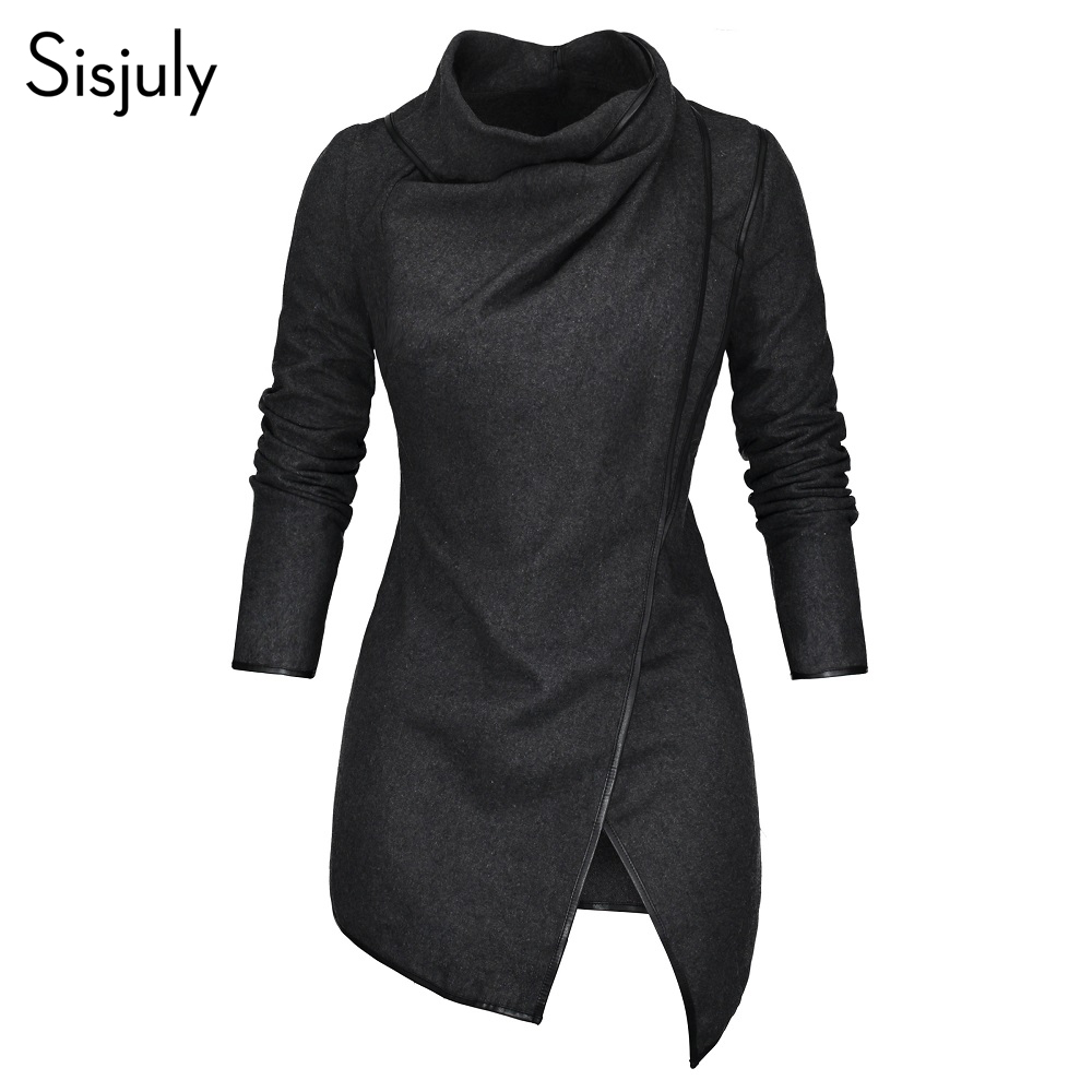 Sisjuly Women Coat Asymmetrical Hem Zipper   Trench   Coats Autumn Thick Wrapped Fashion Slim Black Coats Woman Winter 2019 Outwear