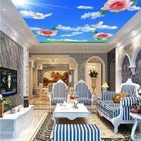 Rosa piccione cielo blu 3D carte da parati foto murales per soffitti 3d wallpaper mural soggiorno salotto wall art decor