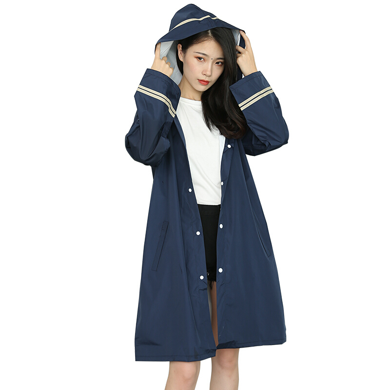 Outdoor Sunscreen Waterproof Rain Coat Women Navy Blue Light Loosen Hooded Fashion Raincoats Hiking Camping Cycling At Rainy Day(China)