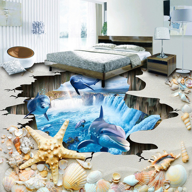 bathroom floor 3d art large custom mural wallpaper 3d space shell dolphin 15850