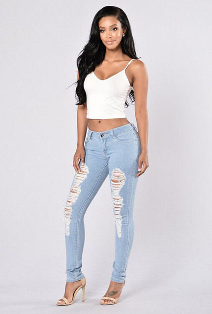 2017 Women's Denim Skinny Ripped Pants High Waist Stretch Jeans Slim Pencil Trousers New Warm Female Casual Jeans