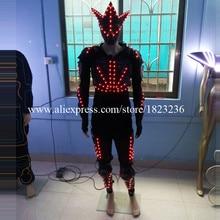 3 комплекта Красочные LED Световой Робот Костюм Костюмы для бальных танцев костюм одежда с led маска растет Освещение Одежда для танцев шоу на сцене Костюмы