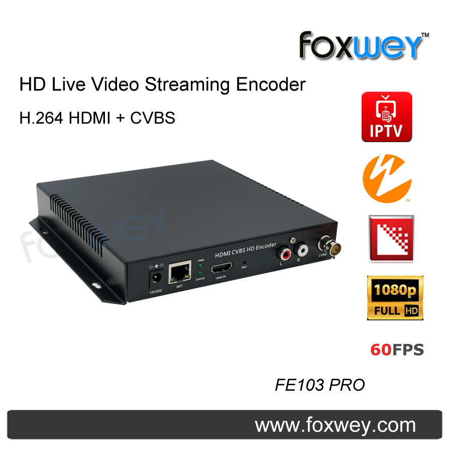 Encodeur de streaming vidéo HD en direct | CVBS | AV | BNC | entrée audio codeur composite H.264 PAL NTSC pour flux en direct pour église FOXWEY