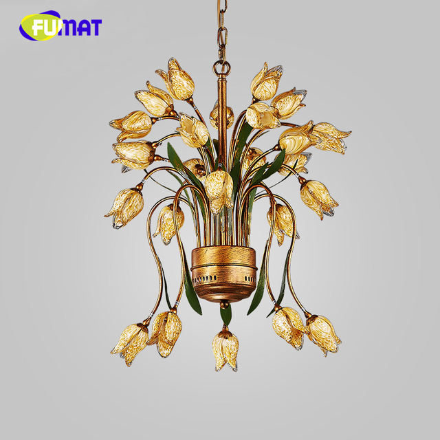 fumat creatieve metalen hanglamp kenmerken pastroal korte moderne bloem glas schaduw verlichting europese hanger lampen