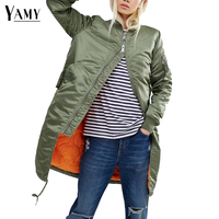 Winter Thick Army Green Women Basic Coats Fashion Stand Collar Long Bomber Jacket Lady Design Zipper