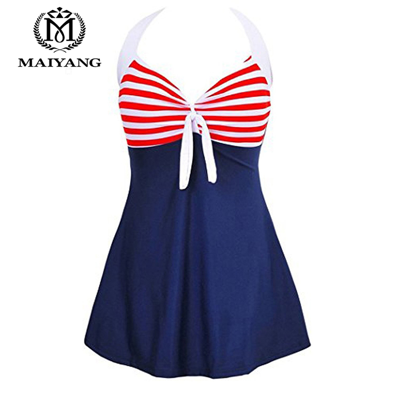 MiYang One Piece Swimsuit Plus Size Swimwear Women Bathing Suit Monokini Bodysuit Women Vintage Sailor Pin Up Summer Dress BSLL women one piece triangle swimsuit cover up sexy v neck strappy swimwear dot dress pleated skirt large size bathing suit 2017