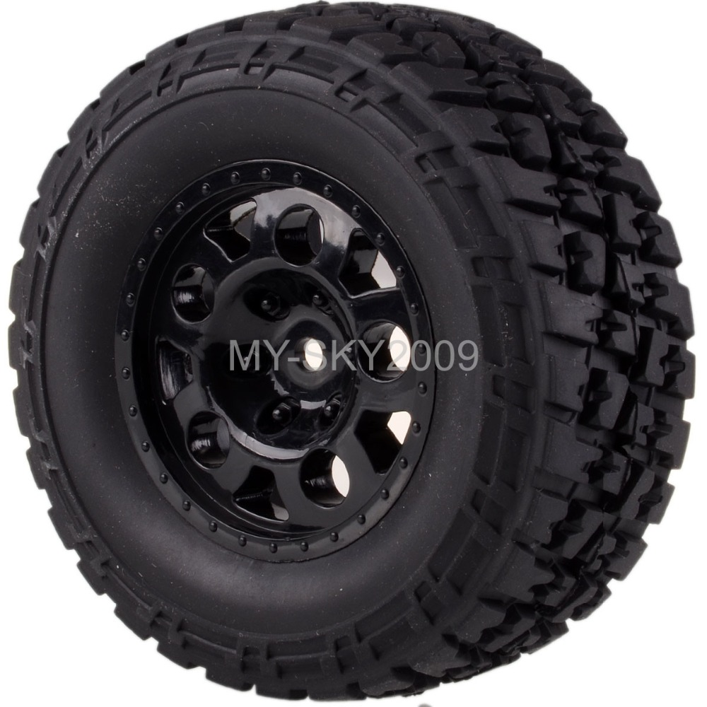 4pcs Front & Rear Wheel Rim & Tire Tyres For 1/10th RC Traxxas Short Course Truck Slash 4x4 1 5 traxxas x maxx wheels tire rc monster truck model madmax high quality tyres upgrade rim 4pcs