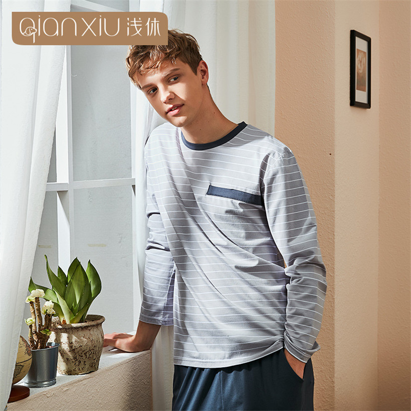 Autumn Men's Pajamas Long Sleeve Cotton Pyjamas Sleepwear Male Stripe Lounge Pajama Sets Round Collar Pullover Nightwear